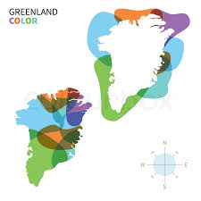 abstract vector color map of greenland with transparent paint