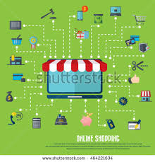 Awning Online Online Shopping Laptop Icon Awning Various Stock Vector 464221634