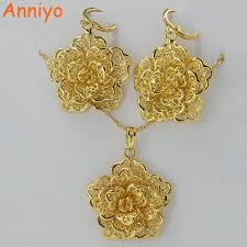 trendy flower necklace images Anniyo flower pendant necklace earrings set jewelry gold color jpg