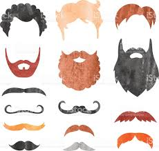 watercolor mustache beard and haircut set stock vector art