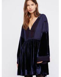 free people secret origins pieced lace tunic in brown lyst