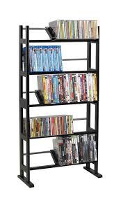 Dvd Bookcase Storage Atlantic Multimedia Storage Rack Wood Metal Walmart Com