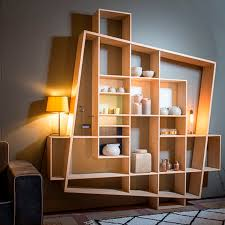Bookcase Modular Modular Shelf Contemporary Oak Frisco By Hugues Weill Drugeot