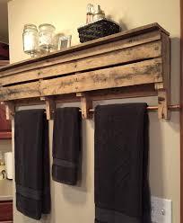Bathroom Wall Cabinet With Towel Bar by Rustic Pallet Wood Furniture Towel Rack Bathroom Shelf Wall Shelf