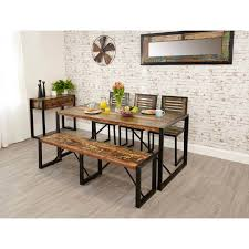 industrial kitchen table furniture industrial reclaimed dining table and chairs bench buy at