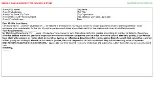 table inspector cover letter