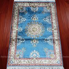 Turquoise Persian Rug 2x3 Oriental Rug Turkish Silk Carpet Handmade Mediterranean Home