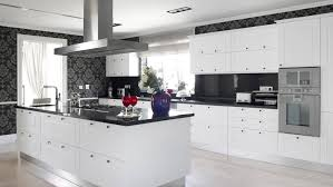 crowded people black and white kitchen wallpaper white painted