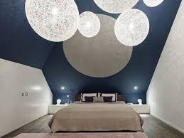 chambre bleu gris design interieur chambre coucher moderne murs bleu gris suspensions