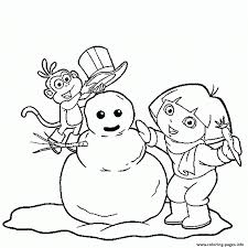 dora and boots make snowman s winter942e coloring pages printable