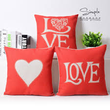 compare prices on pink decorative pillows online shopping buy low creative watercolor pink love pillow red cushion couples gift linen pillowcase sofa cushions home decorative pillows