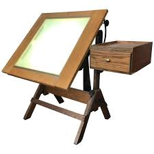 Hamilton Industries Drafting Table Hamilton Lightbox Drafting Table And Drawer Cast Iron And Oak