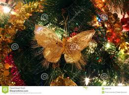 tree ornaments bright shiny butterfly stock image