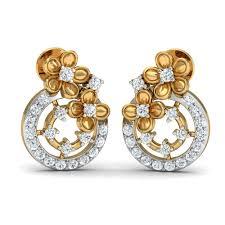 gold diamond earrings 18 kt gold diamond earrings