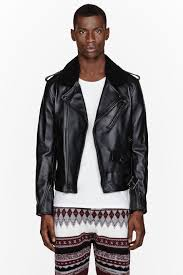 mens moto jacket 3 1 phillip lim black leather and shearling biker jacket in black