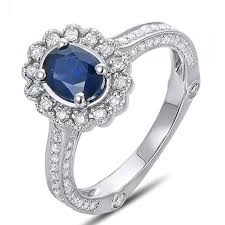 engagement rings sale sale antique floral 1 carat blue sapphire and diamond engagement