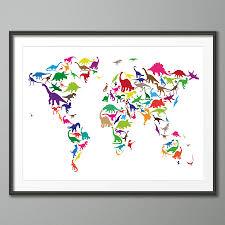 World Map Wall Poster by Dinosaur World Map Art Print By Artpause Notonthehighstreet Com