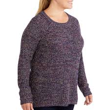 sweater walmart faded s plus size knitted marled pullover sweater