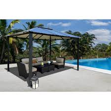 home depot patio gazebo stc 10 ft x 13 ft bermuda hard top gazebo gz3584 the home depot