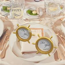 picture frame wedding favors free shipping 100pcs nautical theme gold ship wheel photo frame