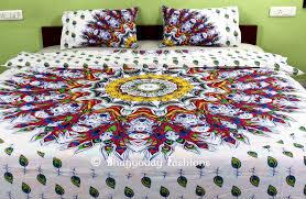Peacock Feather Comforter Beautiful Indian Mandala Multi Feather Peacock Print Bedding