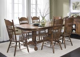 old world double pedestal table 7 piece dining set in medium oak