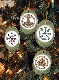 set of four viking heathen asatru symbols yule winter solstice