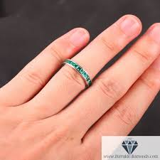 channel set wedding band princess cut emerald channel set wedding band iturraldediamonds