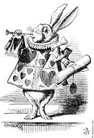 white rabbit dressed as herald blowing trumpet