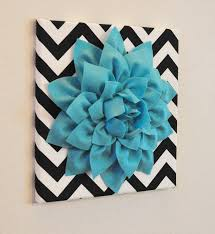 aqua wall flower turquoise dahlia on black and white by bedbuggs