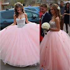 puffy ball gown strapless sweetheart light pink tulle beaded prom