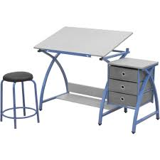 blue writing desk angled kids desk with stool in kids desks