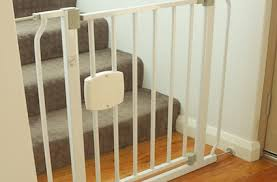 stair gate stops child dog and grandmother