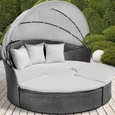 canape de jardin canape de jardin rond modulable gris en résine tressée