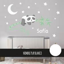 stickers panda chambre bébé ours panda dans l arbre avec la lune blanche sticker muraux
