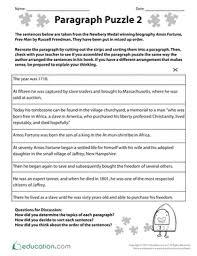 paragraph puzzle 2 worksheet education com