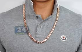 mens rose gold necklace images Solid 14k rose gold leaf bismark mens chain 9 mm 26 5 inches jpg