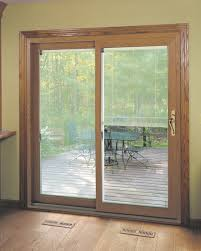 sliding glass doors with blinds between window treatments kitchen