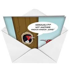 humorous birthday paper card knock knock joke