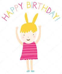 happy birthday card with cute little u2014 stock vector