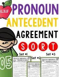 pronoun antecedent agreement sort language writing and reading
