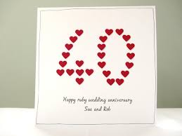 anniversary card ruby wedding anniversary card personalised anniversary cards