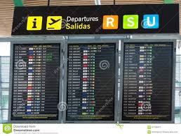 Madrid Airport Map Board Departures In The Madrid Barajas Airport Editorial