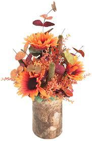 Home Decor Silk Flower Arrangements Fall Fall Decor Orange Sunflower Silk Floral Arrangement