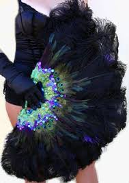 burlesque fans 27 x 53 forest green marabou ostrich feathers fan with