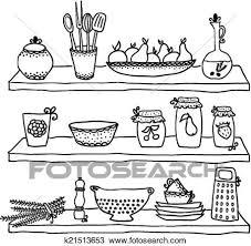 dessin ustensile de cuisine clipart ustensiles cuisine sur étagères croquis dessin