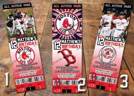mlb boston red sox birthday invitation ticket 9 99 via etsy