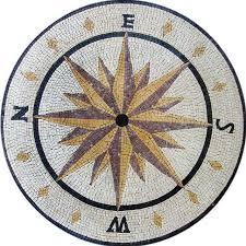 Round Nautical Rugs Mosaic Compass Design Round Stone Mediterranean Mosaic Tile