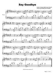 say goodbye chris brown stave preview 1 free piano sheet