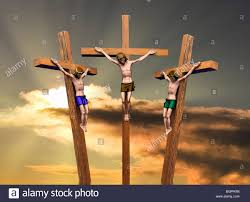 jesus and the two thieves on the cross stock photo royalty free
